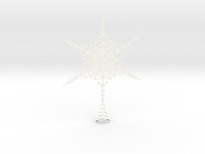 Sparkle Snow Star - Fractal Tree Top - MP1 - M1 in White Processed Versatile Plastic