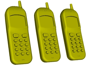 1/18 scale Nokia cell phones x 3 in Smooth Fine Detail Plastic