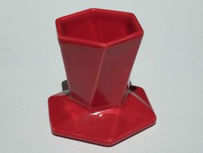 Hexagonal pour over coffee maker in Gloss Red Porcelain
