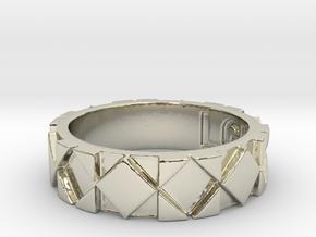 Futuristic Rhombus Ring Size 5 in 14k White Gold