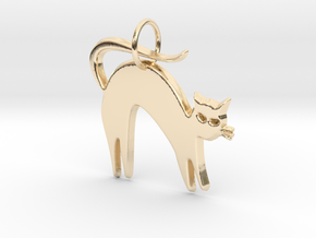 Pretty Kitty Pendant in 14k Gold Plated Brass