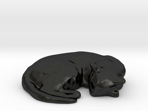 Sleeping Kitty 03 in Matte Black Porcelain