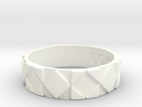 Futuristic Rhombus Ring Size 14 in White Processed Versatile Plastic