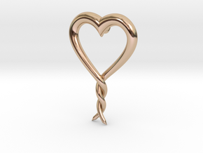 Twisted Heart 2 in 14k Rose Gold Plated Brass