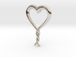 Twisted Heart 2 in Rhodium Plated Brass