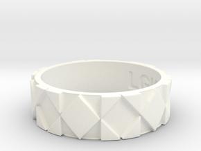 Futuristic Rhombus Ring Size 11 in White Processed Versatile Plastic