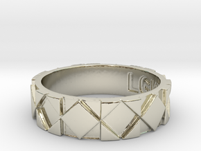 Futuristic Rhombus Ring Size 10 in 14k White Gold