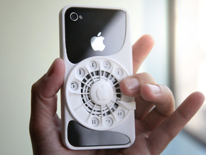 Rotary Phone Case for iPhone 4 / 4s in White Strong & Flexible Polished