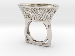 Constantina Contemporary - nest ring  in Rhodium Plated Brass