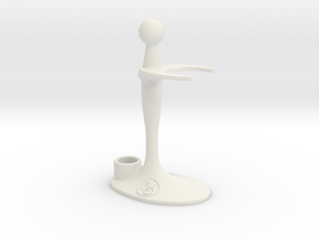 Combo Razor and Brush Stand in White Natural Versatile Plastic
