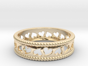 Size 10 Hearts Ring A in 14K Yellow Gold