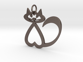 Heart Cat Keychain in Polished Bronzed Silver Steel