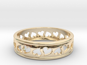Size 10 Hearts Ring B in 14k Gold Plated Brass