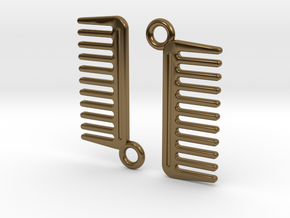 Comb Earrings in Polished Bronze