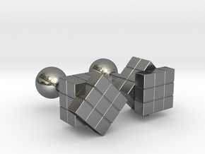 Rubik Cu(be)fflinks in Polished Silver