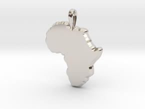 Mapa Mudo de Africa in Rhodium Plated Brass