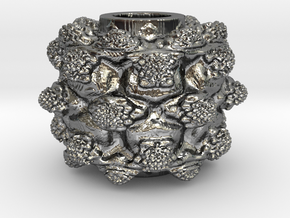 MandelBulb Power8 OM Particle in Fine Detail Polished Silver