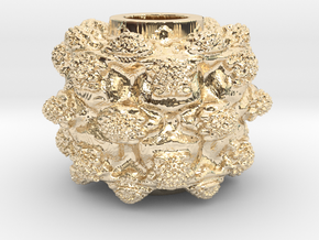 MandelBulb Power8 OM Particle in 14k Gold Plated Brass