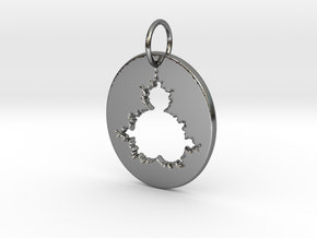 Mandelbrot Pendant in Fine Detail Polished Silver