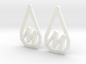 Teardrop Monogram Earrings Small (customizable) in White Processed Versatile Plastic