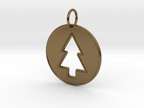 Gravity Falls Pine Tree Pendant in Polished Bronze