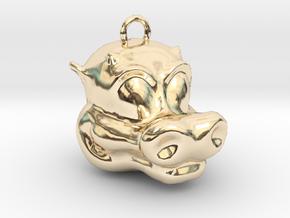 Little Dragon Head in 14k Gold Plated Brass