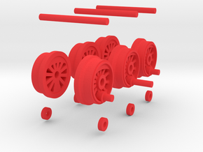 Steam Locomotive T3 Scale N Part 003 in Red Strong & Flexible Polished
