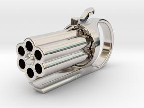 Finger Revolver in Rhodium Plated Brass