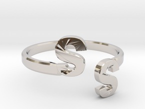 Initial Ring Band Adjustable Size in Platinum