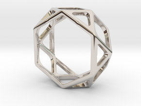 Structural Ring size 8 in Rhodium Plated Brass