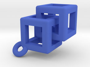Impossible rounded cubes. in Blue Processed Versatile Plastic