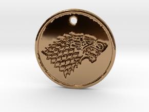 Stark Wolf Medallion in Polished Brass