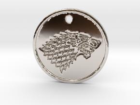Stark Wolf Medallion in Rhodium Plated Brass