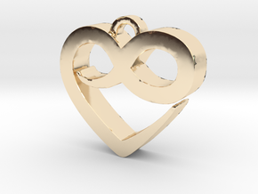 Infini Heart Necklace in 14K Yellow Gold