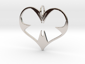 Butterfly Heart in Rhodium Plated Brass