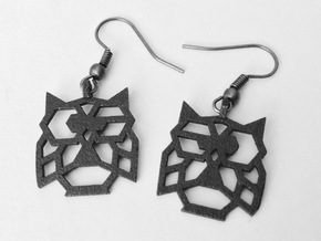 Earrings Little Owl in Black Natural Versatile Plastic