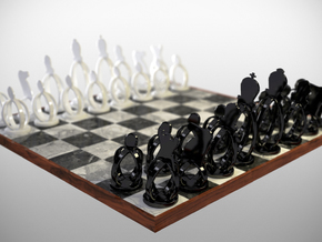 Wireframe Chess set in Black Natural Versatile Plastic