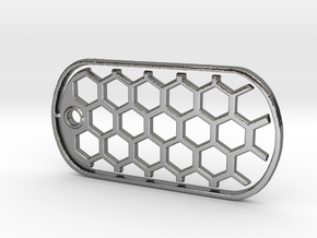 Honeycomb Dog Tag in Fine Detail Polished Silver