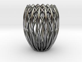 Basket Candlestick 4.5cm in Polished Silver