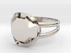 Size 8 Diamond Ring in Rhodium Plated Brass