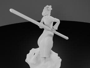 Dragonborn Monk in Robes with Quarterstaff in White Processed Versatile Plastic
