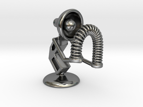 "Lala - Playing with ""Spring coil toy"" - DeskToys in Fine Detail Polished Silver"