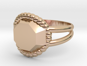 Size 8 Diamond Ring A in 14k Rose Gold Plated Brass