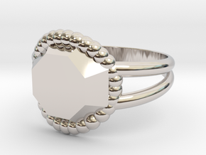 Size 9 Diamond Ring A in Rhodium Plated Brass