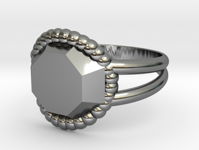 Size 10 Diamond Ring A in Fine Detail Polished Silver