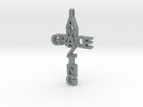 Amazing Grace Cross Pendant in Polished Metallic Plastic