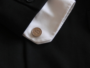 Bitcoin Cufflinks in Polished Bronzed Silver Steel