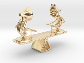 "Lala & Lele ""Playing Seesaw"" - DeskToys in 14k Gold Plated Brass"