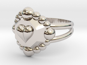 Size 6 Diamond Heart Ring E in Rhodium Plated Brass