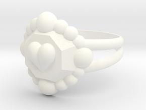 Size 6 Diamond Heart Ring E in White Processed Versatile Plastic